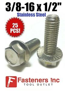3//8-16x1 Stainless Steel Hex Serrated Flange Screws Flange Bolts 304 6
