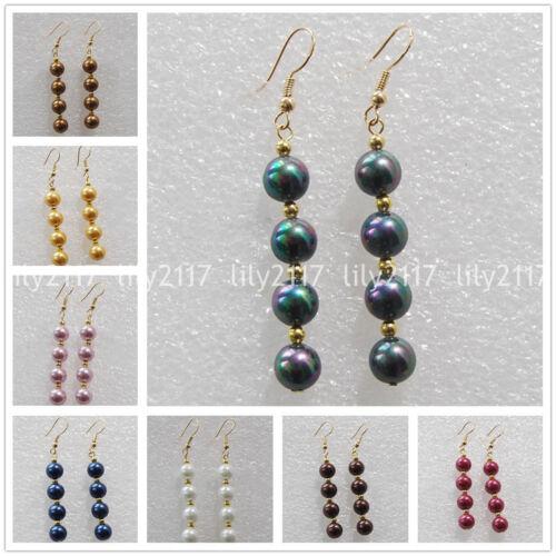 11 Couleurs 8//10//12mm South Sea Shell Pearl Perles Rondes Or Crochet Dangle Boucles d/'oreilles