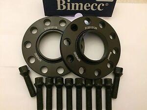 20mm BIMECC BLACK HUB CENTRIC SPACERS + 10 x 50mm BOLTS FITS BMW 74-74 M12X1.5