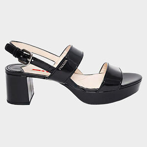 Sandali Rossa 40 Size Prada Linea Patent Originali Donna Ladies Neri Black A0tTnq1nw