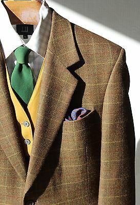 John Weitz 42R Gentleman's Olive Green Windowpane Check Sport Coat
