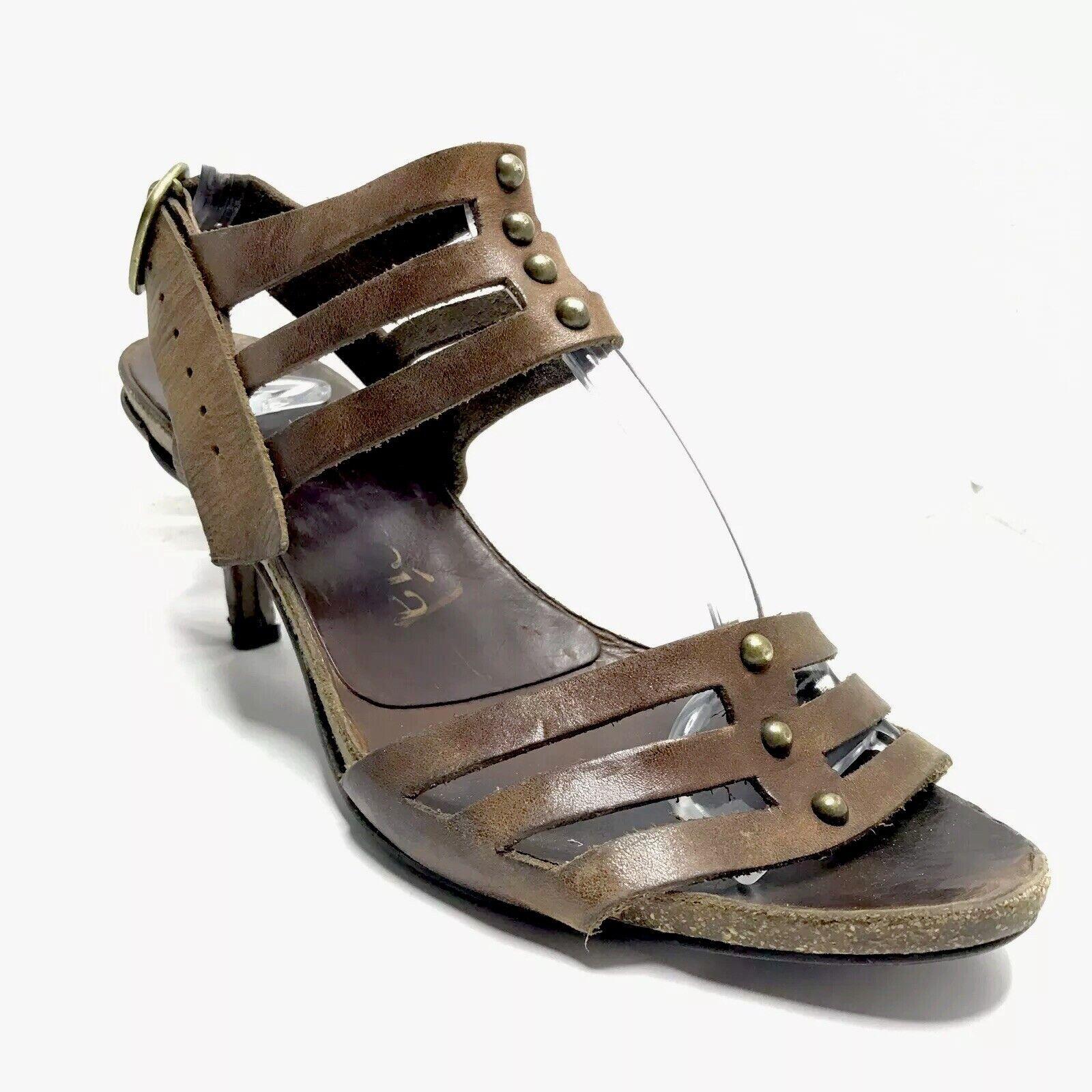 Pedro Garcia talón sandalias de correa marrón cuero para mujer Talla 41