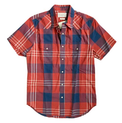 Lucky Brand Mens M NWT RedBlueWhite Plaid Short Sleeve Snap Western Shirt