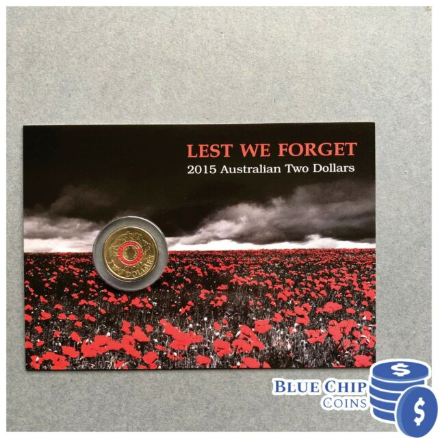 Rare 2015 Australian Red ANZAC Centenary of WW1 2 dollar Coin Lest We Forget