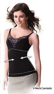 Ambrace-V-ausschnitt-Unterhemd-Top-Instant-Slim-Figurformend-Bauch-Flach-Schwarz