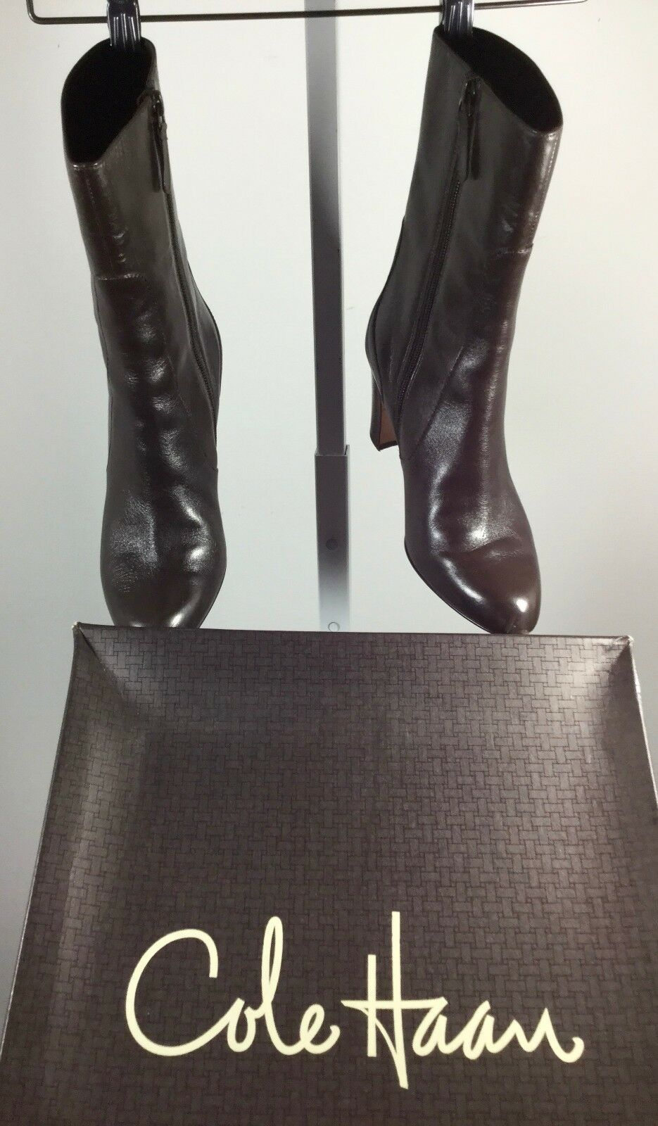 COLE HAAN Dark Braun Chocolate Leder Harper Mid Calf Boot Größe 7 IN BOX 250
