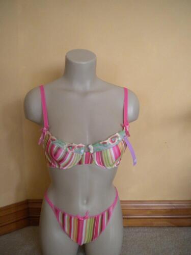 NWT Nolaros Colorful stripe bra set