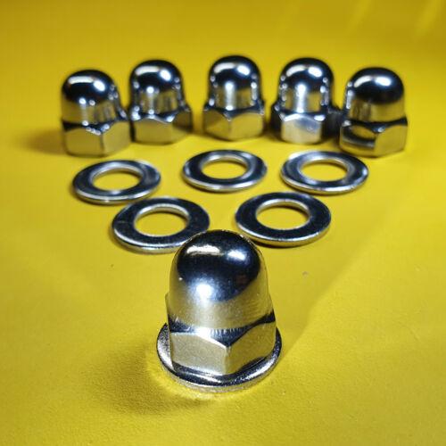 6 Stück Hutmutter M8x1 Feingewinde Edelstahl V2A Fein mit Unterlegscheiben