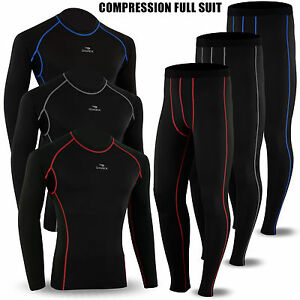 Mens-Compression-Winter-Thermal-Base-Layer-Tights-Shirt-Pant-Under-Full-Suit