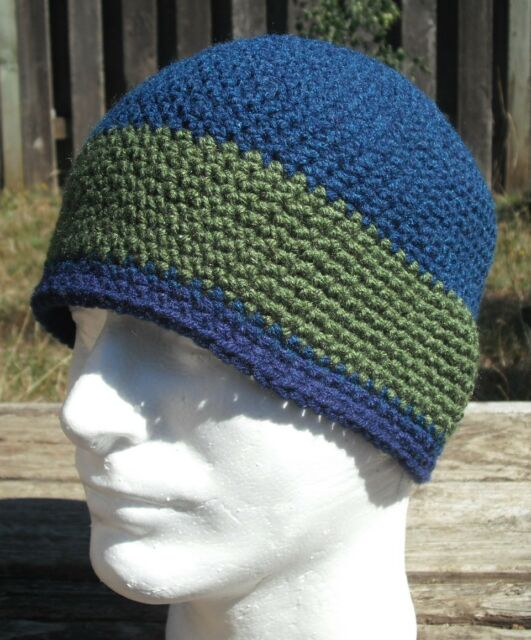 Fabulous Medium Size Blue/Green Crocheted Beanie - Handmade by Michaela