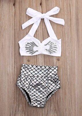 NWT Girls Mermaid Silver Shimmer Bikini Swimsuit Bathing Suit 2T 3T 4T 5T