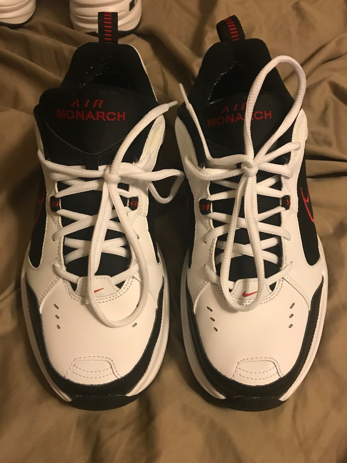 NIKE AIR MONARCH 4 MEDIUM WIDTH WHITE BLACK RED 415445-101 MENS US SIZES best-selling model of the brand