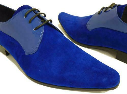 Mens Handmade shoes Royal bluee Style Fashion Derby Party Formal Casual Boots New