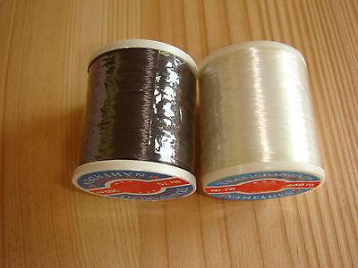 200m Transparent-Nähfaden aus 100%Polyamid - in farblos oder schwarz erhältlich