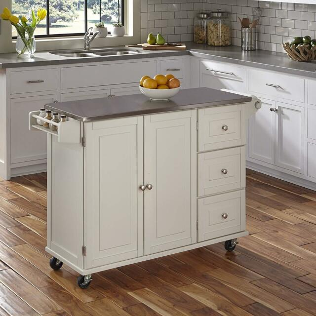 Beau Stainless Steel Top White Kitchen Island Cart Rolling Utility Wood Cabinet  Rack