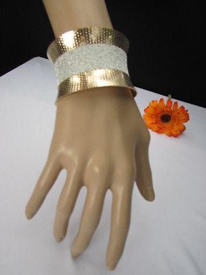 Women Gold Metal Cuff Fashion Bracelet Horizontal Silver Glitter Stripe Sparkle