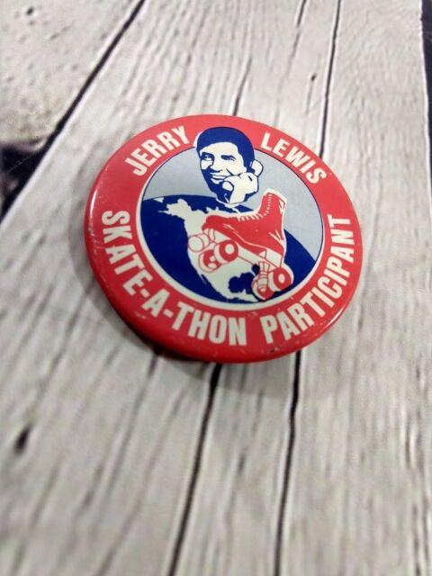Vintage Jerry Lewis Skate-A-Thon Participant Pinback Button Badge 2.25