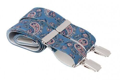 Blue Pink Paisley Suit Trouser Braces Suspenders Silver Clips XL XXL Extra Long