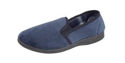 Nuevo Hombre Clásicos Zapatillas Negro Marina resistente suela Doble Escudete Talla 7-12 Reino Unido