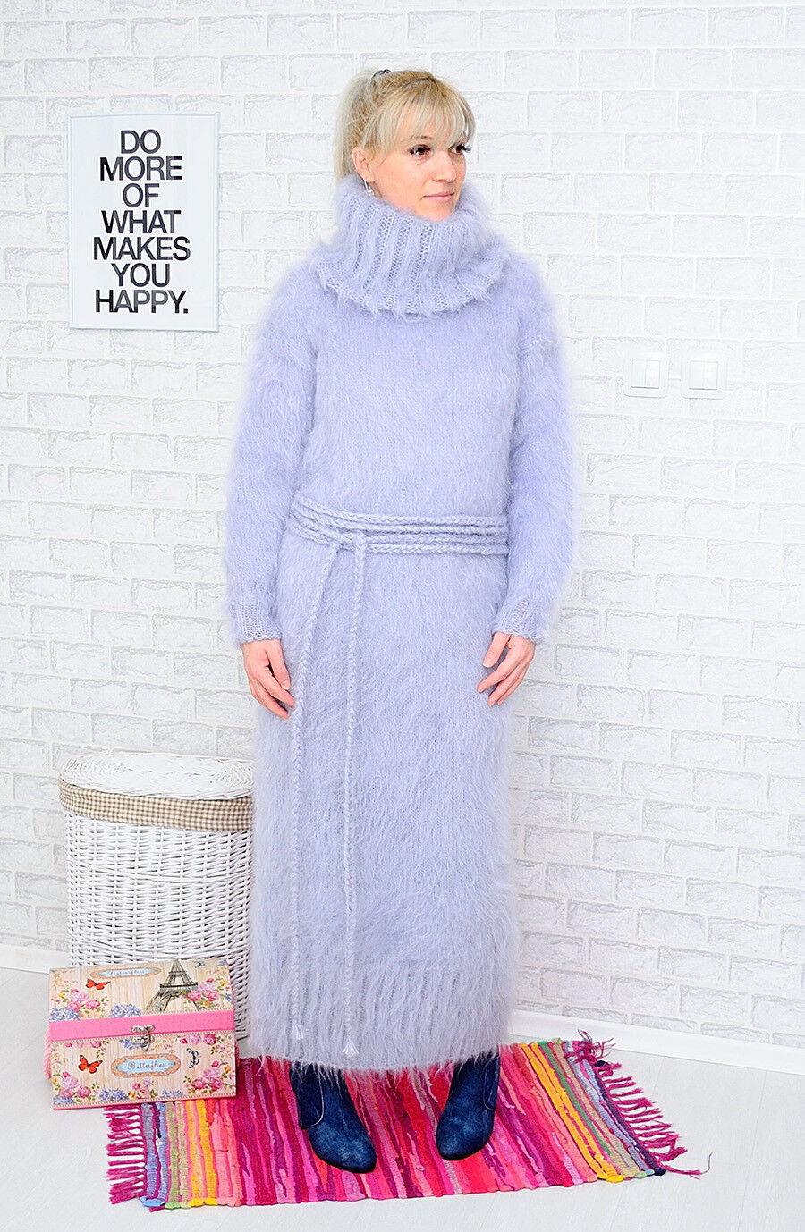 MOHAIR Hand Knitted Kleid + Belt   Robe grau Handmade New SALE  ️