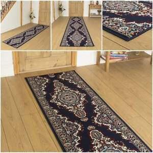 Turkesh blue hallway carpet runner rug traditional hall extra very long cheap - Extra long carpet runners ...