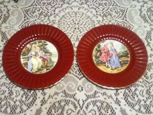 2-Wade-England-Royal-Victoria-10-034-Ceramic-Plates-Courting-Couple-Love-Red-Gold