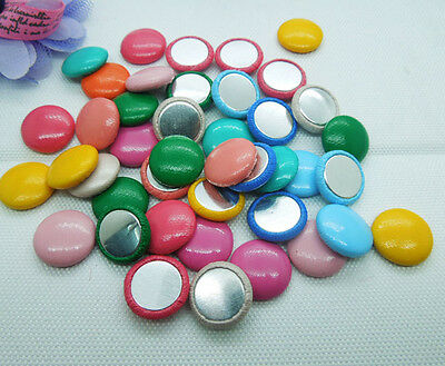 100 Random Mix Round imitation leather covered Flat back Buttons DIY Crafts 15mm