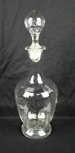 Antique 19th Century Hand Blown Floral Acid Etched Wine Decanter