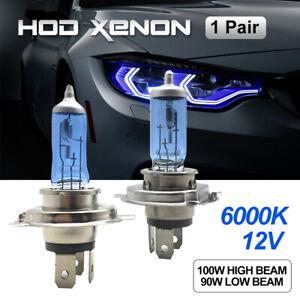 H4-HEADLIGHT-GLOBES-CAR-LIGHT-BULBS-6000K-100-90W-12V-XENON-SUPER-WHITE-1-Pair