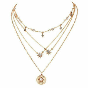 New-Women-Gold-Choker-Star-Crystal-Multilayer-Chain-Necklace-Pendant-Jewelry