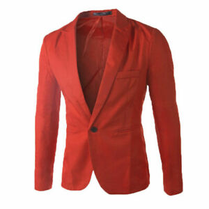 New-Men-s-Outwear-Jacket-Casual-Spring-Men-039-s-Tops-Slim-Coat-Red-SIZE-XXS