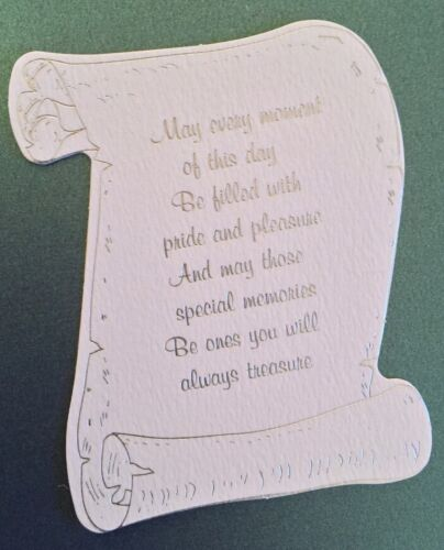 May every moment pk5 cream or white Die cut foil versed scroll card topper