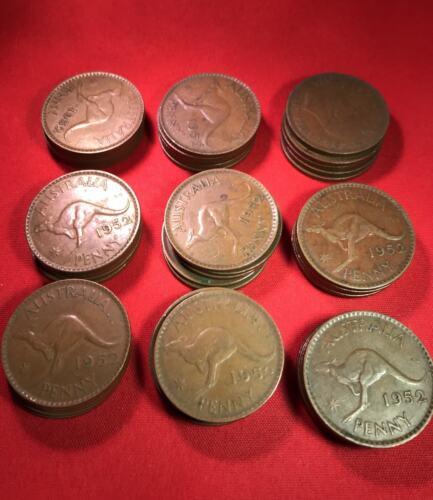 1952 Australian Penny x 10 Variety Bulk Lot Predecimal Coins Minimum Grade VF