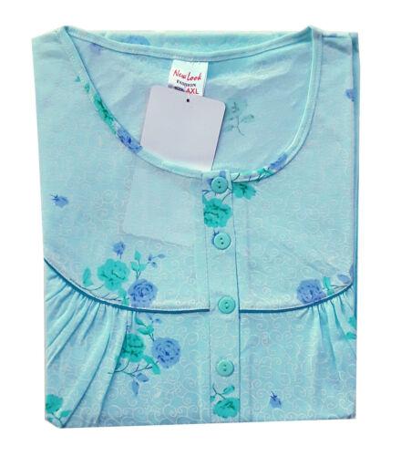 Kurzarm Damen Nachthemd mit  4 Knöpfleiste  für Übergröße 4XL 5Xl