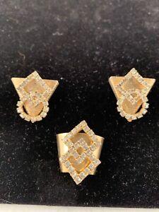 Vintage-Gold-Tone-Geometric-Rhinestone-Western-Shirt-Collar-Tips-amp-Scarf-Slide