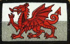 WALES FLAG Embroidered Iron-On PATCH WELSH TACTICAL EMBLEM UK BLACK Border #04