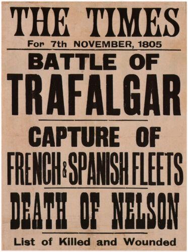 THE TIMES HEADLINES United Kingdom 1805 Battle of Trafalgar Nelson/'s death Print