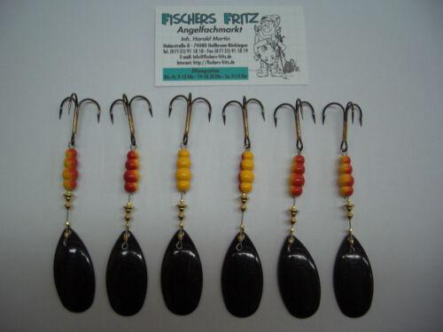 5 x Mepps Aglia Black Size 5 with 13,5 G Spinner 6 piece 1 FREE