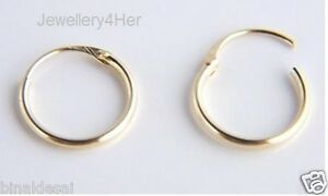 9ct Gold Tiny Small Plain 10mm Top Half Hinged Hoop Sleeper Earrings Pair Gift N