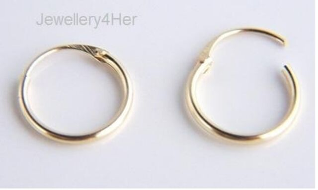 Kids Girls Child Baby 9ct Gold Tiny Small Plain 10mm Hoop Sleeper Earrings Pair
