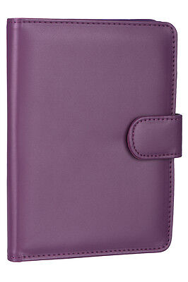 High Quality Leather Book Style Wallet Case Cover For Amazon Kindle 4 - Purple