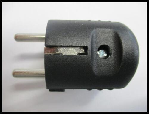 Schutzkontakt Stecker Doppelschutzkontakt  schwarz 250VAC 1 Stück