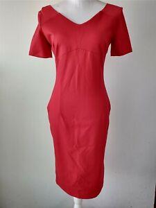 Vijo Couture Womens Size Large Red Midi Dress V-Neck Back Zipper Cap Sleeves
