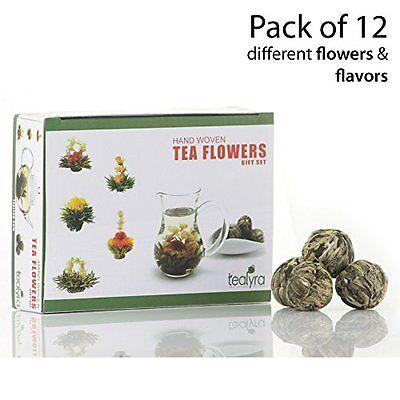 12 Blooming Flowering Green Tea Gift Box Variety Flavors