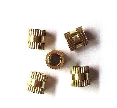 New 100pcs Brass Knurl Nuts M3*4mm(L)-4mm(OD) Metric Threaded nuts/ insert round