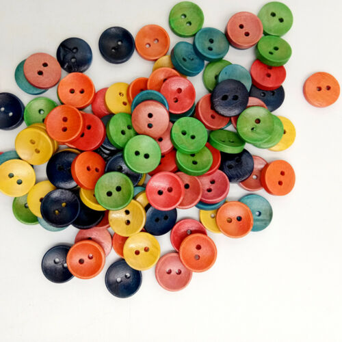 100pcs Mix Colored Wooden Buttons Scrapbooking Crafting Sewing 15mm 2 Holes