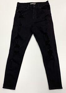 Levi-039-s-Damen-schwarz-Ripped-Mile-High-Super-Skinny-Jeans