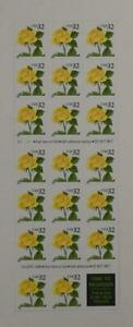 US SCOTT 3049a BOOKLET OF 20 YELLOW ROSES STAMPS 32 CENT FACE MNH