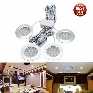 4X-12V-White-Light-LED-Recessed-Interior-Dome-Ceiling-Lamp-For-Boats-Camper-UK