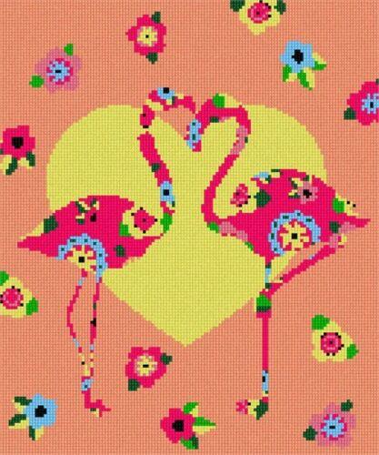 Flamingo Art Deco Needlepoint Kit or Canvas Bird//Animal//Valentine
